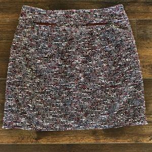 LOFT Red Wine Gray Lined Short Skirt 8 Petite